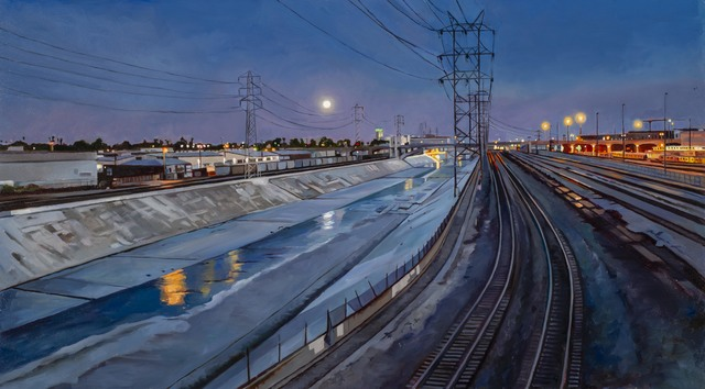 , 'Moonrise Over the L.A. River,' 2020, George Billis Gallery