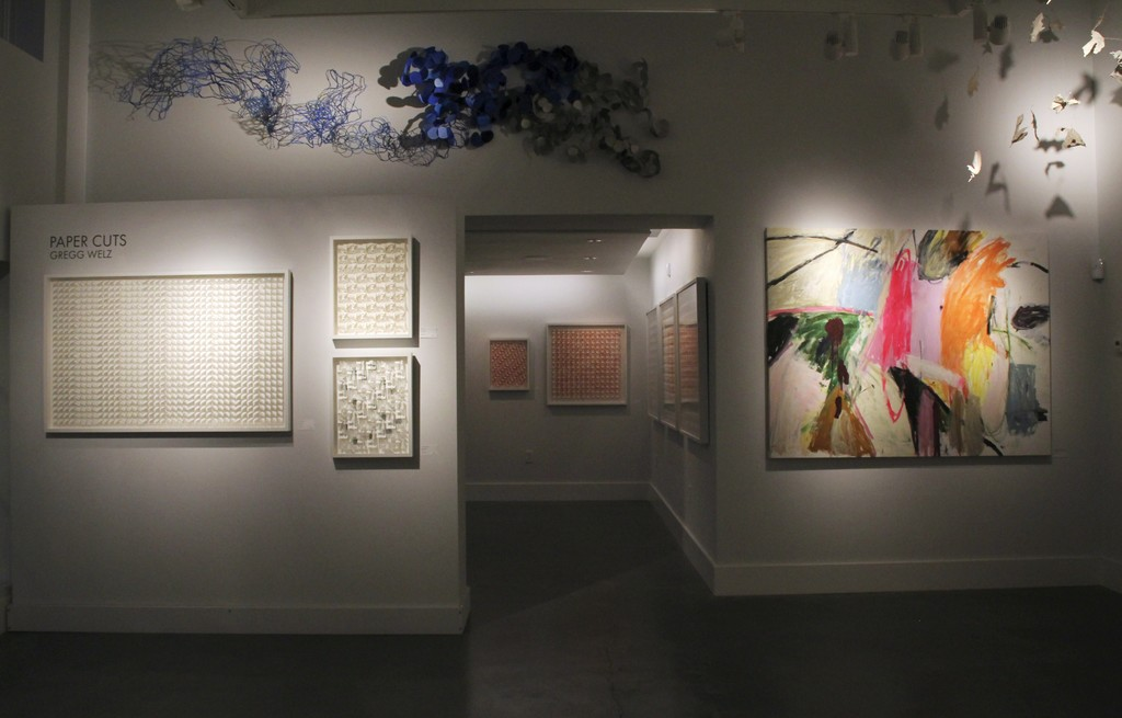 """Left: """"Points of White"""", """"Winter Stars"""", """"Islands in the Sea"""", Gregg Welz Paper Wall Sculpture by Barbara Owen Right: """"Handwriting/Florida/Palm Beach"""", Ashley Chase Andrews Frozen Moment Sculpture by Donald Bracken"""