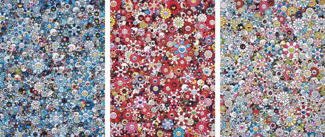 Takashi Murakami, 'Signal; Skulls & Flowers Red; and This Merciless World', 2013-2015, Phillips