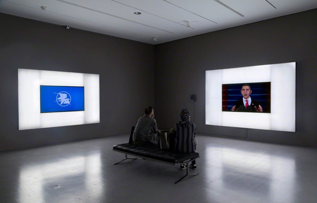Josh Kline. Installation view of Patriot Acts, 2015, and Hope and Change, 2015, in Suspended Animation at the Hirshhorn Museum and Sculpture Garden, 2016. Photo: Cathy Carver