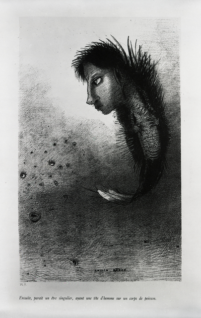 """, '""""Then there appears a singular being, having the head of a man on the body of a fish."""",' 1888, Bowdoin College Museum of Art"""