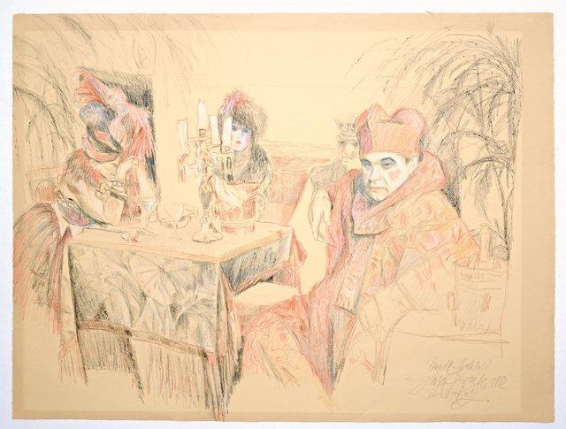 , 'Papst mir Huren am Tisch ,' 1982, Galerie Kornfeld