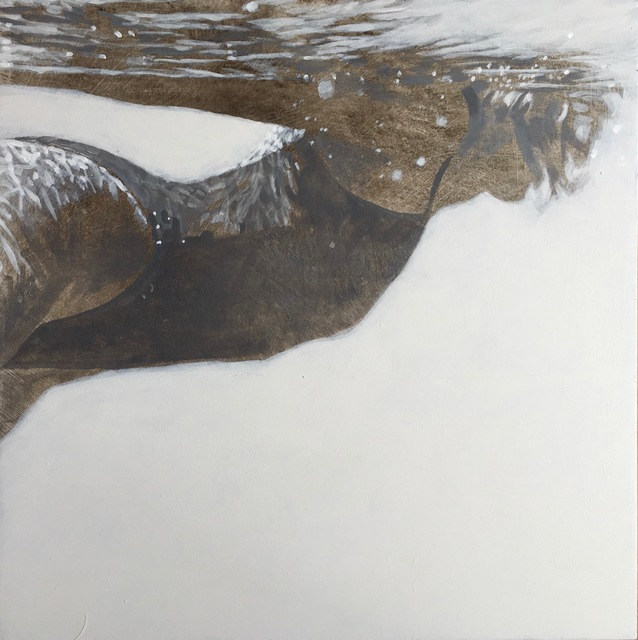 """Carol Bennett, '""""Carol Being Cool"""" black and white oil painting of a woman swimming underwater', 2019, Eisenhauer Gallery"""