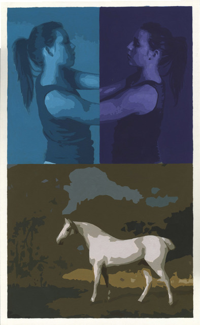 , 'Triptych with Figures and Stubbs White Horse,' 2017, Russo Lee Gallery