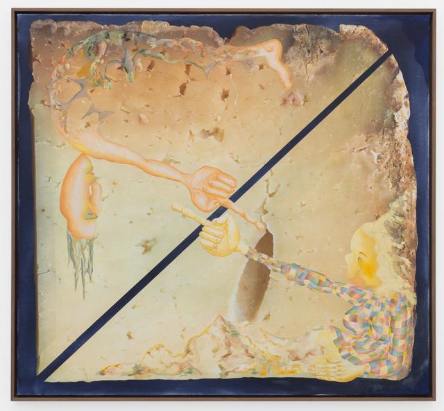 Anne Speier, 'Untitled (Cheese)', 2017, Painting, Oil, Inkjet Print, Watercolor on Canvas, Galerie Meyer Kainer