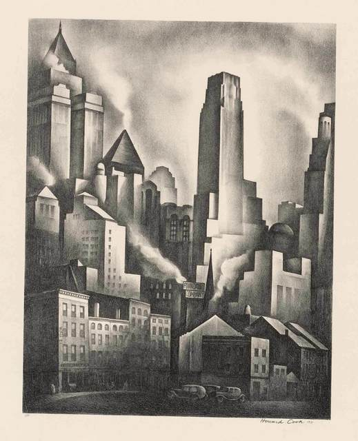 Howard N. Cook, 'FINANCIAL DISTRICT (D. 155)', 1931, Print, Lithograph, Doyle