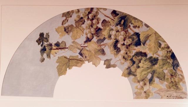 , 'Grapevines on blue silk fan,' ca. 1890, Pia Gallo