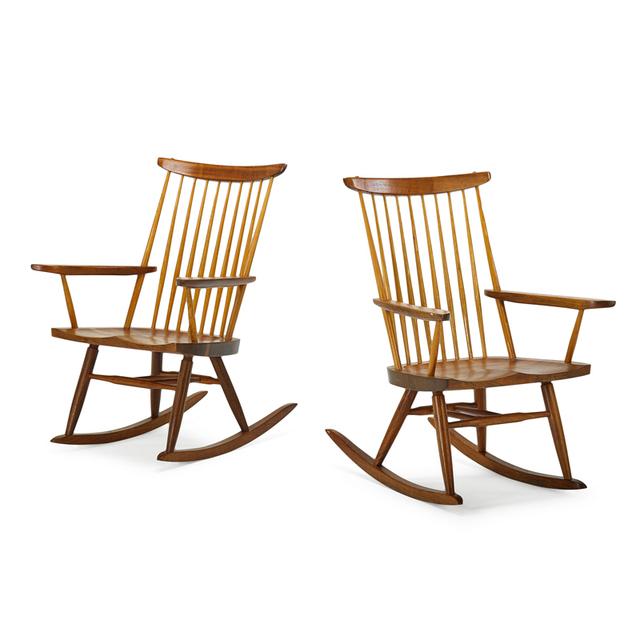 George Nakashima, 'Pair Of Rocking Chairs, New Hope, PA', 1975, Rago/Wright