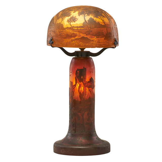 Arsal, 'Cameo glass table lamp with seaside castle scene', 1920s, Rago