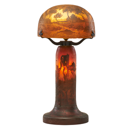 Cameo glass table lamp with seaside castle scene