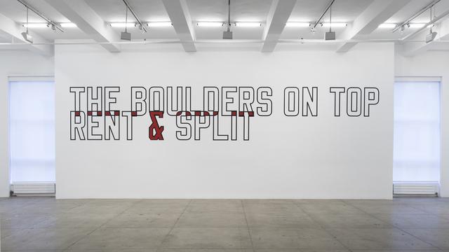 , 'THE BOULDERS ON TOP RENT & SPLIT,' 1987, Marian Goodman Gallery