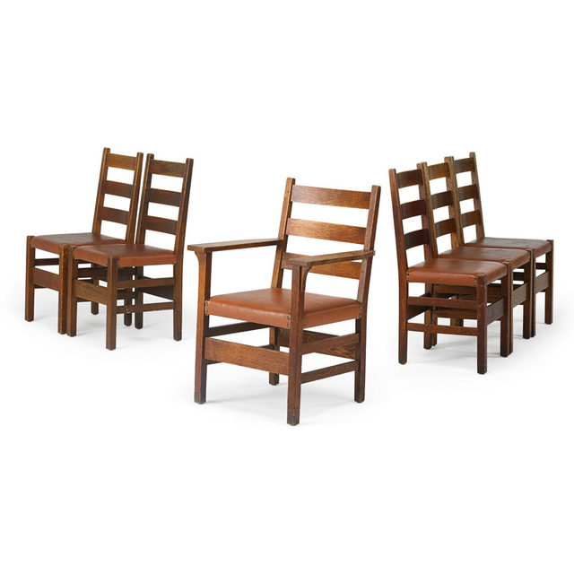 Gustav Stickley, 'Assembled set of six ladder-back chairs, five side-, one arm-, Eastwood, NY', 1910s, Rago/Wright