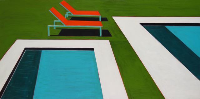 , 'Two Pools With Two Orange Chaise Lounges,' 2017, Caldwell Snyder Gallery
