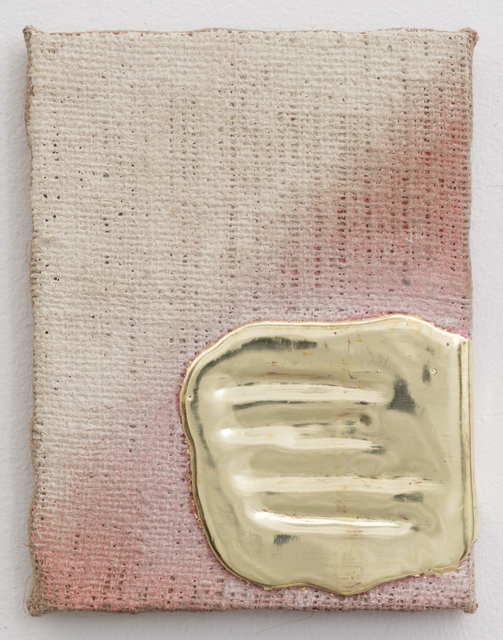 , 'Yellow Gold Pigment Burlap,' 2014, Morgan Lehman Gallery