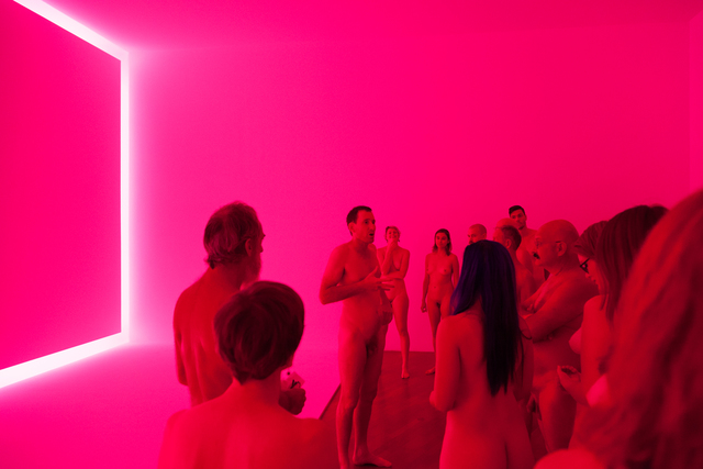 , 'PHOTOGRAPHS IN PINK TURRELL EXHIBITION (RAEMAR PINK WHITE)  Preceded by a tour of the show by artist Stuart Ringholt, 6-8pm. (The artist will be naked. Those who wish to join the tour must also be naked.  Adults only.)  2011-ongoing Gallery tour and drinks, National Gallery Of Australia 2015 Collection Museum of Contemporary Art Sydney James Turrell  Raemar pink white  1969
