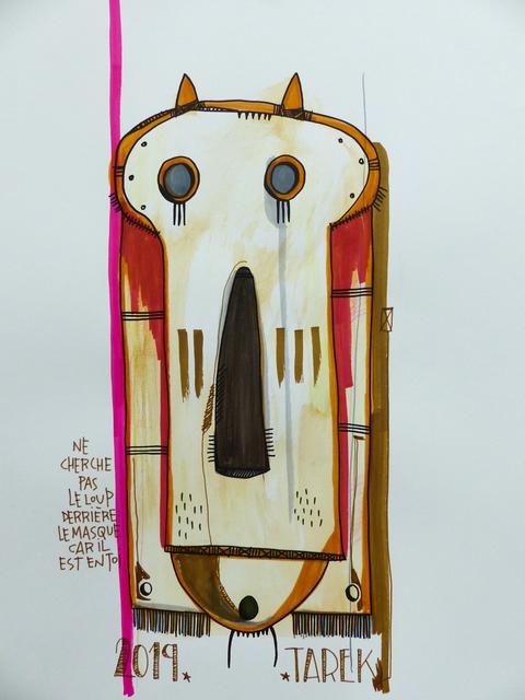 TAREK, 'Ne cherche pas le loup derriere le masque car il est en toi', 2019, Drawing, Collage or other Work on Paper, Tea, watercolor, color ink and posca on paper, Galerie Carole Kvasnevski