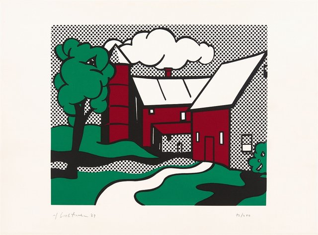 Roy Lichtenstein, 'Red Barn', 1969, Print, Screenprint on C.M. Fabriano 100/100 Cotone Paper, Fine Art Mia