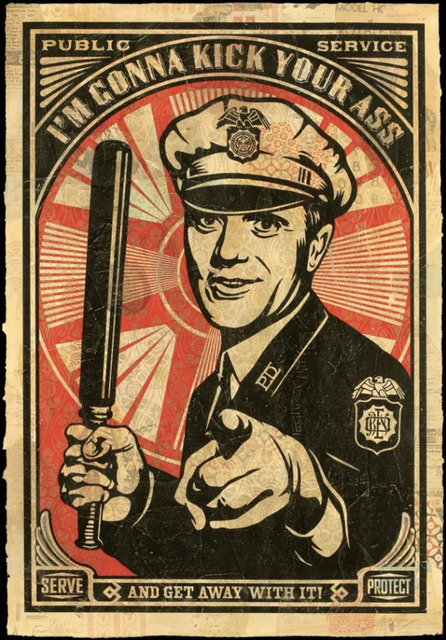 Shepard Fairey (OBEY), 'RISE ABOVE COP', 2006, KP Projects