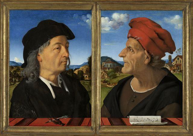 Piero di Cosimo, 'Portraits of Giuliano and Francesco Giamberti da Sangallo', 1482 -1485, Rijksmuseum