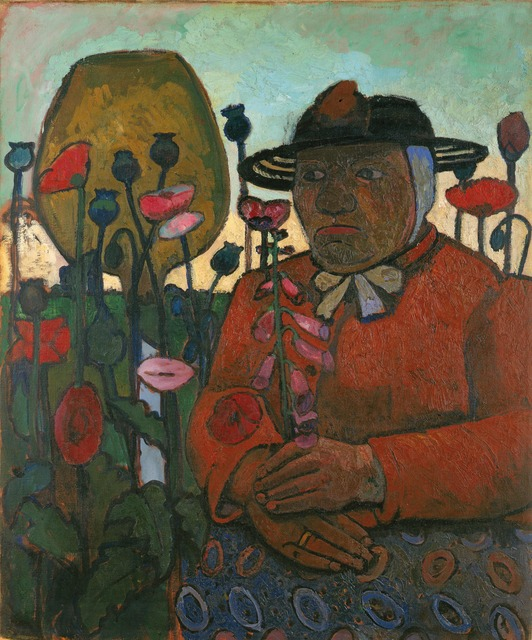 , 'Alte Armenhäuslerin im Garten mit Glaskugel und Mohnblumen (Old Woman from the Poorhouse in the Garden with Glass Globe and Poppies),' 1907, Louisiana Museum of Modern Art