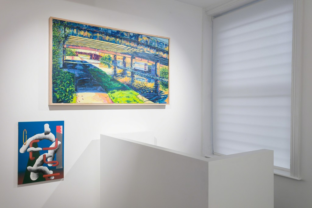 Lee Marshall 'U/T ( in Blue)', 2014 and Charlie Reed's 'Canal Path 2', 2013.