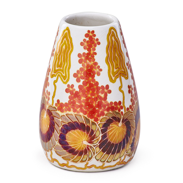 Zsolnay, Pècs Factory, 'Vase With Stylized Flowers, Pecs, Hungary', ca. 1900, Rago/Wright