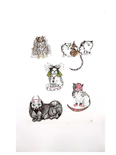 Leonor Fini, 'Leonor Fini - Surrealist Cats - Original Engraving', 1985, Galerie Philia