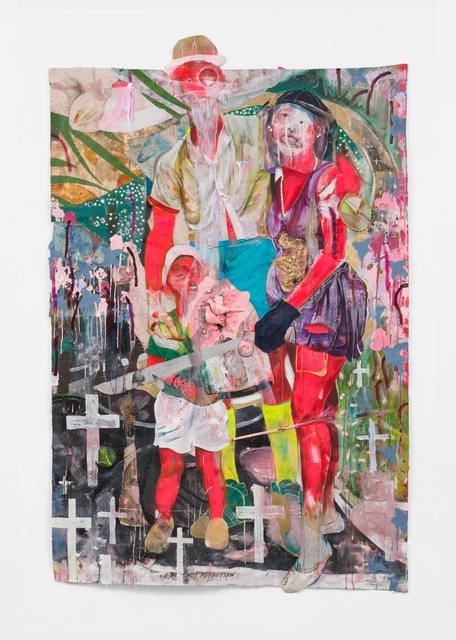 Lavar Munroe, 'FAITH HOPE & LOVE', 2020, Painting, Acrylic, spray paint, mirror, beads, doll, faux birds, plastic and staples on canvas, M+B