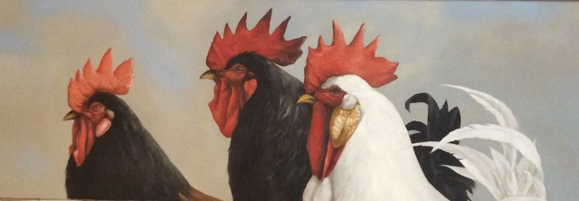 """, '""""Trois Voilalle"""" oil painting, portrait of three brown and white roosters on linen,' 2010-2017, Eisenhauer Gallery"""