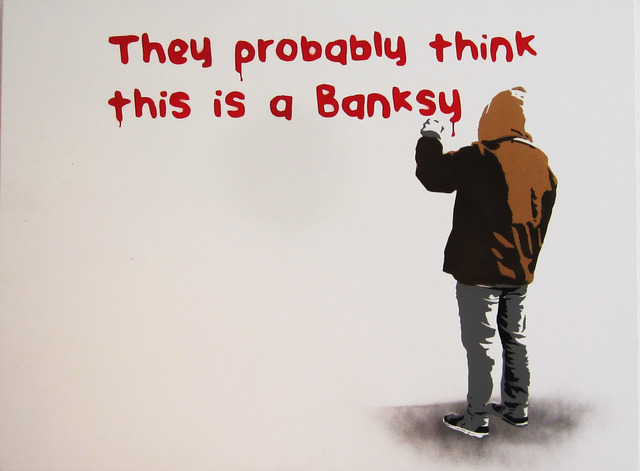 """, '""""They Probably Think This is a Banksy"""" – Stenciled Acrylic on Canvas,' 2017, Wallspace"""