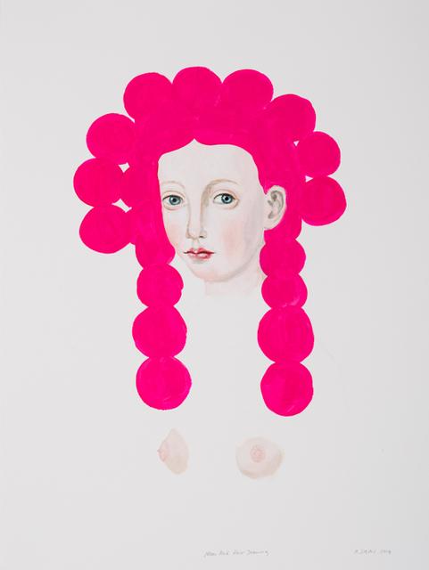 , 'Neon Pink Hair Drawing ,' 2018, David Lusk Gallery