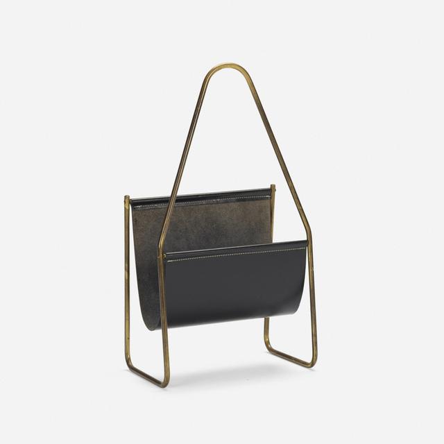 Carl Aubock II, 'magazine rack, model 3808', 1950, Design/Decorative Art, Brass, leather, Rago/Wright
