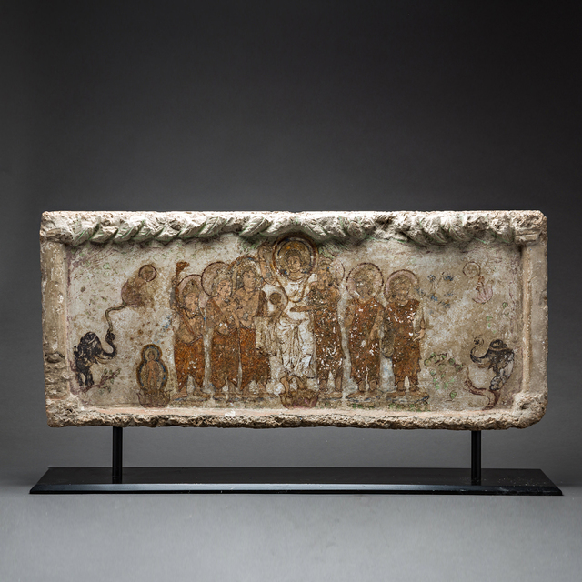 , 'Gandharan Painted Stone Lintel Depicting the Birth of the Buddha,' 200 AD to 400 AD, Barakat Gallery