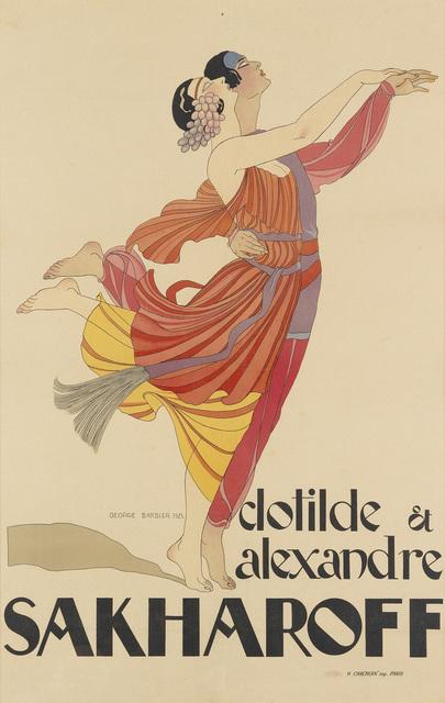 George Barbier, 'CLOTILDE ET ALEXANDRE SAKHAROFF', 1921, Swann Auction Galleries