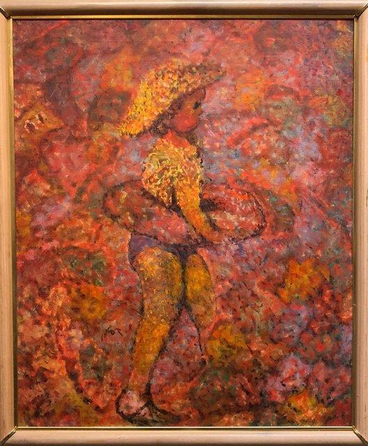 Arie Kaplun, 'Israeli KIbbutz Artist Toddler, Swim Tube Pointilist Oil Painting Bezalel School', 20th Century, Painting, Canvas, Oil Paint, Lions Gallery