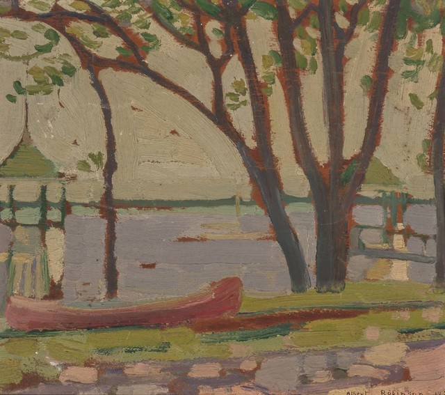 Albert Henry Robinson, 'The Red Canoe (a double-sided work)', 1920, Painting, Oil on panel, Doyle