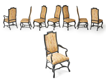 Set of Eight Baker High Back Dining Chairs, USA