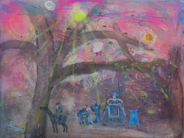, 'The big brat in the top hat with a framed pic of a fat cat, and a fat cat, and the two twats and the pink skies and the bats, and the prize and the trap ,' 2017, Gibbons & Nicholas