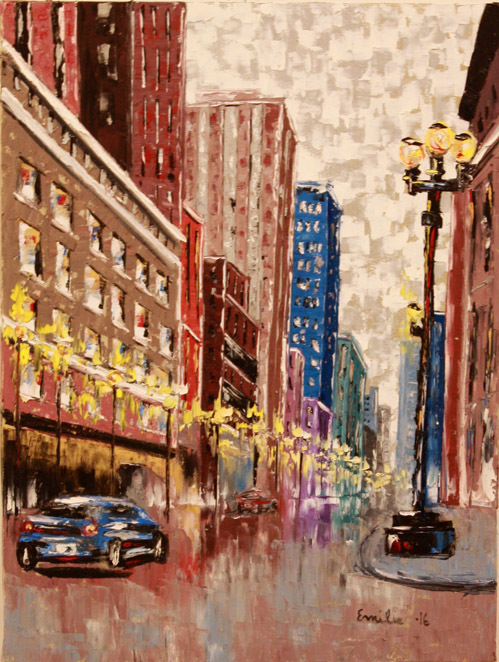 """""""Night in the City"""" by Emilie Beadle. Oil on Canvas.  18"""" x 24"""""""