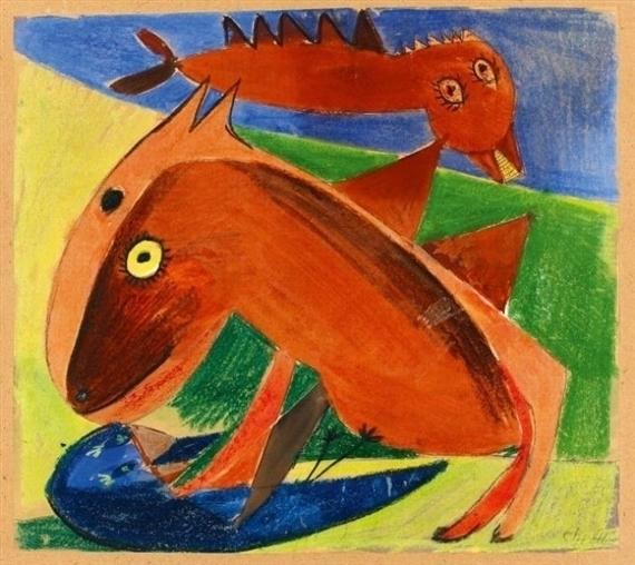 , 'Fighting bird and horse,' 1941, HUNDERTMARKartFAIR