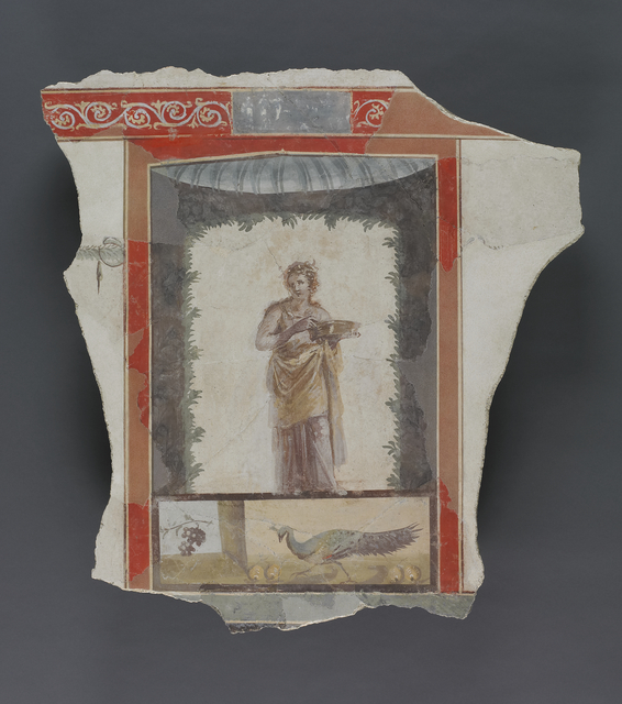 'Fresco Depicting a Woman (Maenad?) Holding a Dish, Peacock and Fruit Below',  1st century, J. Paul Getty Museum