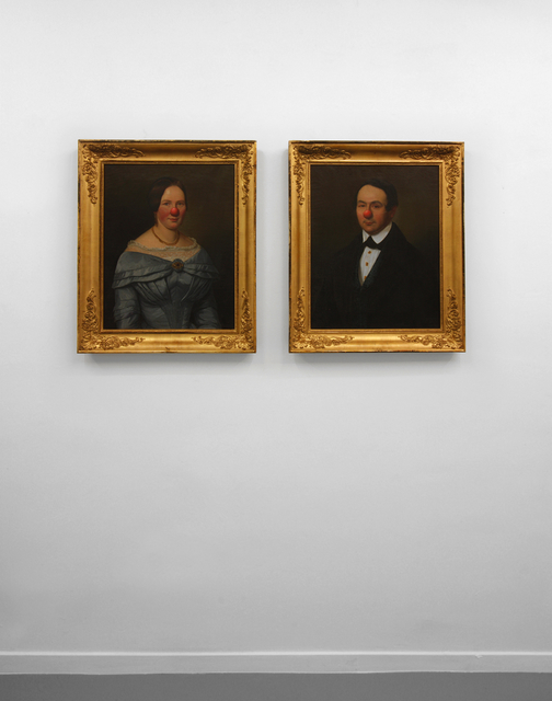 , 'Two Portraits Man + Woman with Red Nose,' 2011, Micheline Szwajcer