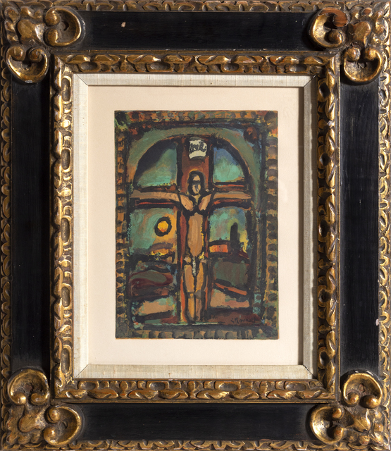 Georges Rouault, 'Crucifixion from Les Peintres mes amis', 1965, Print, Wood Engraving with Embossing on Vellum, RoGallery