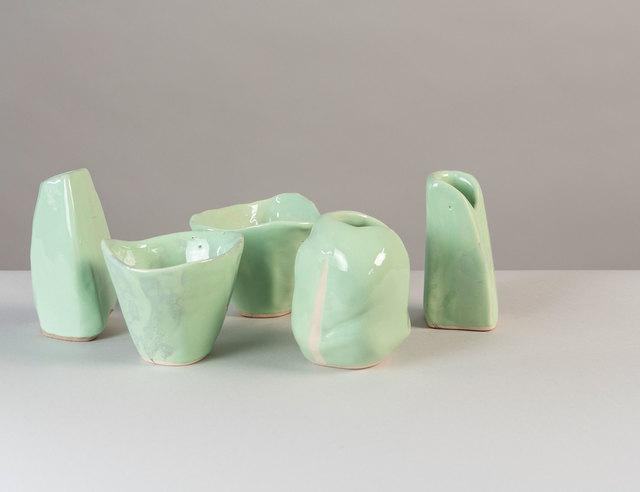 ", 'Collection of 10 Ceramics ""Green Springtime""  Unique,' 2018, Valerie Goodman Gallery"