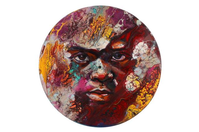 Matt Small, 'Elijah', 2018, Painting, Oil and acrylic, linocut on vinyl record, Chiswick Auctions