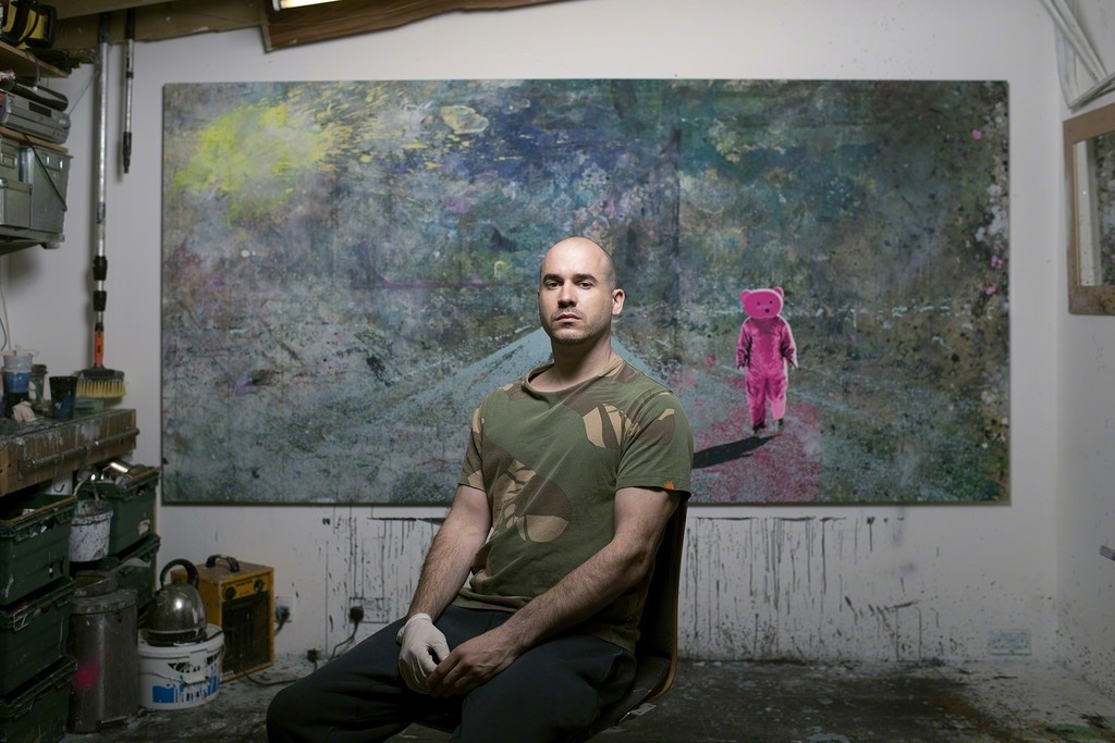 Robinson at work in his East-London studio.