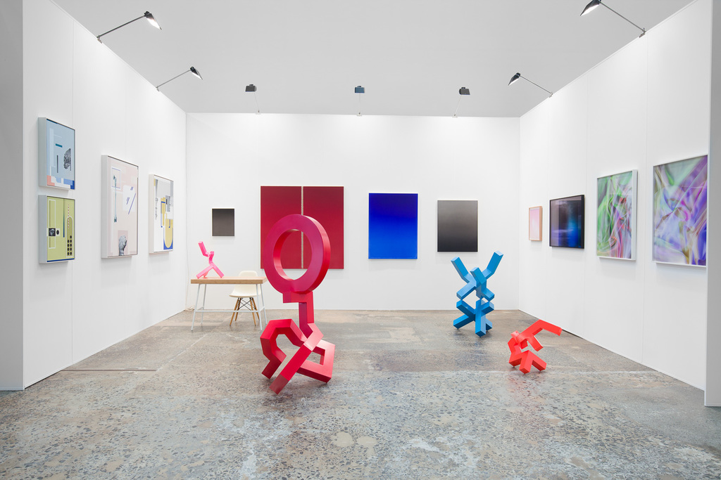Works by Genevieve Felix Reynolds, Nancy Constandelia, Vivian Cooper Smith and Caleb Shea. For Galerie pompom, Booth D03, Sydney Contemporary 2018. Photo: Docqment
