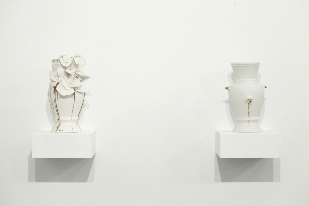 Valentina Savić, Existentialist Vase No. 5 Crowning (2017) and Existentialist Vase No. 4 (2017). Photo Boris Burić