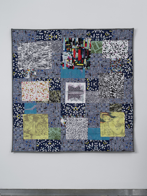 """Claudia Hart, 'Nayland Split Squares', 2014, Installation, Handsewn polyester print and cotton fabric, tablet reader with custom case   quilt: 58 x 60 x .25"""" / 147. x 152.4 x .6 cm            tablet: 8 x 4.75 x .5"""" / 20.3 x 12.1 x 1.3 cm, bitforms gallery"""