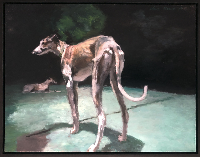 , 'Two greyhounds at night,' 2019, 99 Loop Gallery